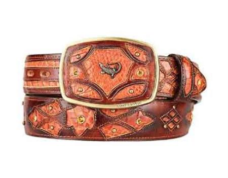 Fashion western belt cognac original caiman belly skin