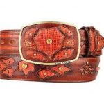 Fashion western belt cognac original lizard teju skin