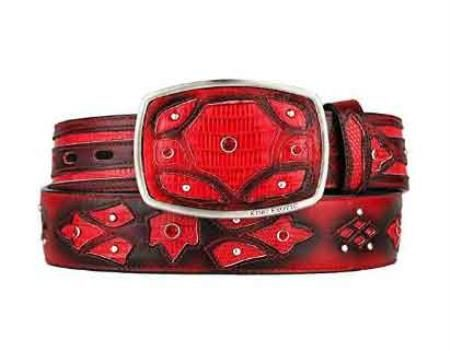 Fashion western belt red original lizard teju skin
