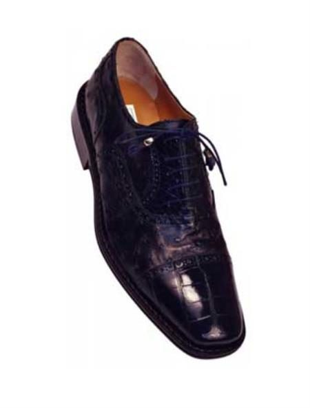 Ferrini 203/528 Navy Genuine Alligator / Ostrich Shoes