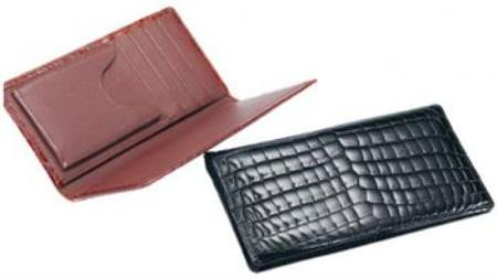 Ferrini ABCK Genuine Crocodile Check Book Wallet Black,Cognac