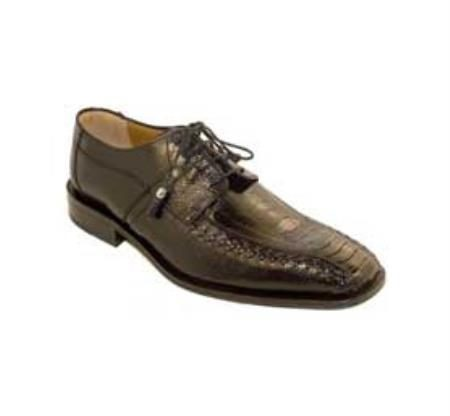 Ferrini Black Genuine Ostrich Leg Shoes