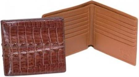 Ferrini Cognac Genuine Hornback Crocodile Wallet Cognac