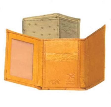Ferrini Full Quill Ostrich Trifold Wallet