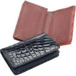 Ferrini Genuine Crocodile Card Holder Wallet Black,Cognac