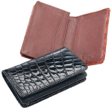 Ferrini Genuine Crocodile Card Holder Wallet in Black and Cognac