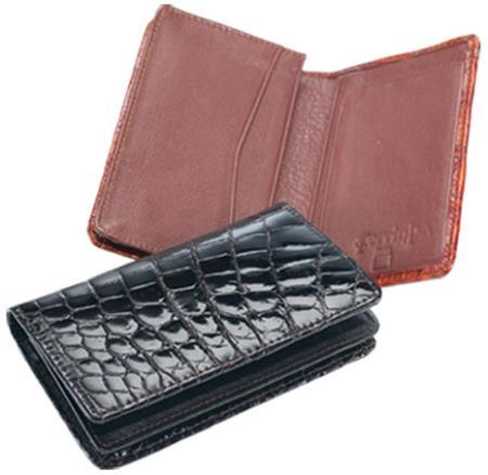Ferrini Genuine Crocodile Card Holder Wallet in Black and Cognac