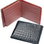 Ferrini Genuine Crocodile Wallet Black,Cognac
