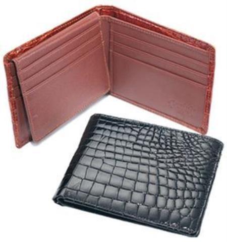Ferrini Genuine Crocodile Wallet Black,Cognac