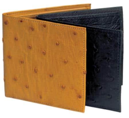 Ferrini Genuine Full Quill Ostrich Wallet in Black and Cognac