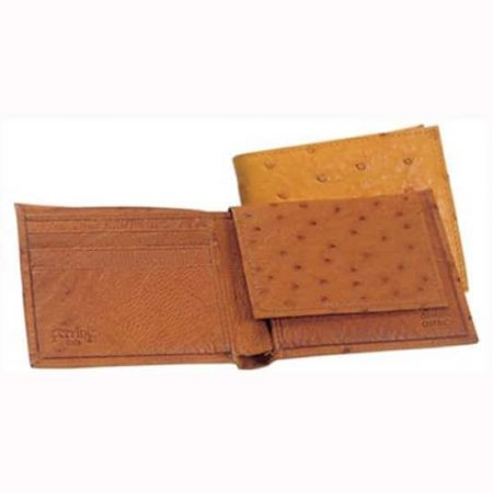 Ferrini Genuine Full Quill Ostrich Wallet in Brown and Cognac