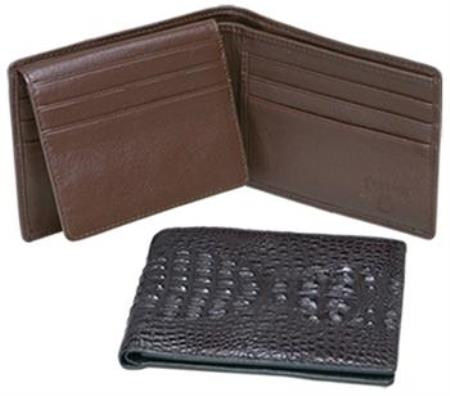 Ferrini Genuine Hornback Crocodile Card Holder Wallet Black,Brown