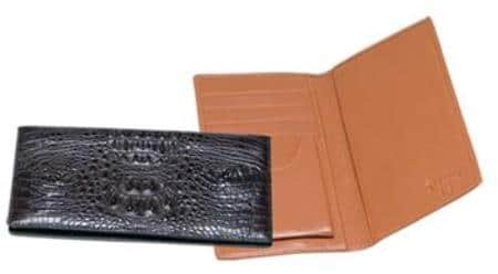 Ferrini Genuine Hornback Crocodile Checkbook Wallet Black,Brown