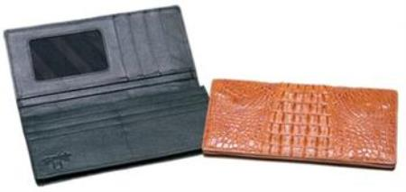 Ferrini Genuine Hornback Crocodile Checkbook Wallet Black,Cognac