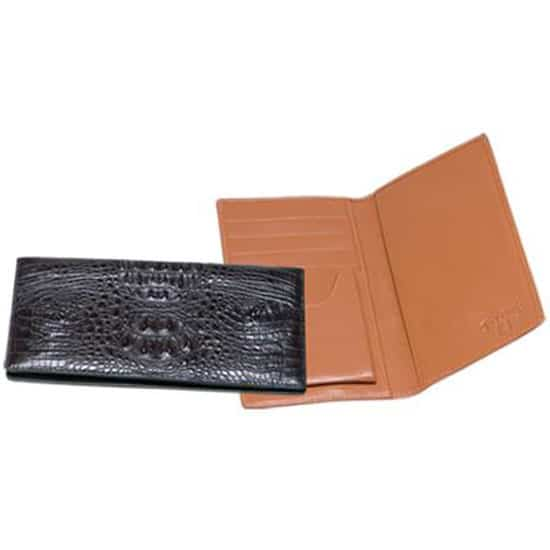 Ferrini Genuine Hornback Crocodile Checkbook Wallet in Black and Brown