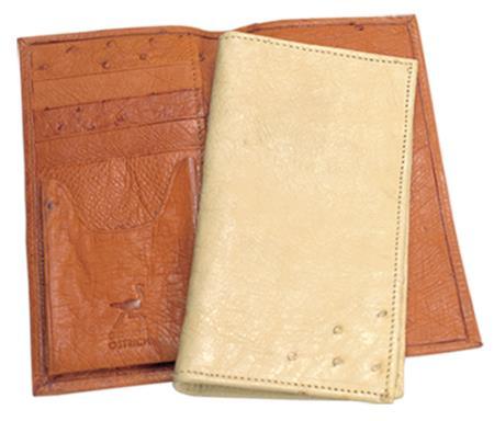 Ferrini Genuine Ostrich Checkbook Wallet in Buttercup Oryx and Bone
