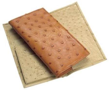 Ferrini Genuine Smooth Ostrich Wallet Bone,Cognac