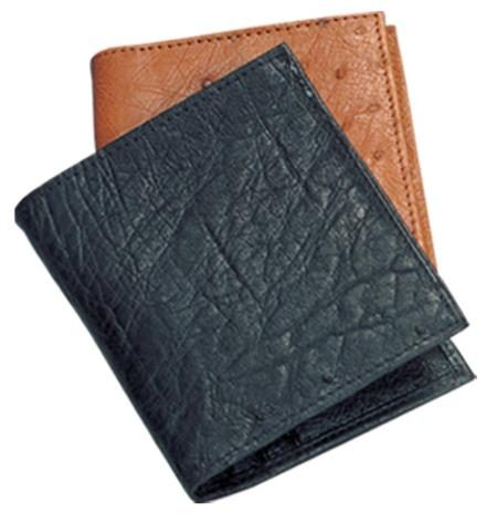 Ferrini Genuine Smooth Ostrich Wallet in Black and Cognac