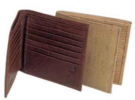 Ferrini Genuine Smooth Ostrich Wallet Oryx,Brown
