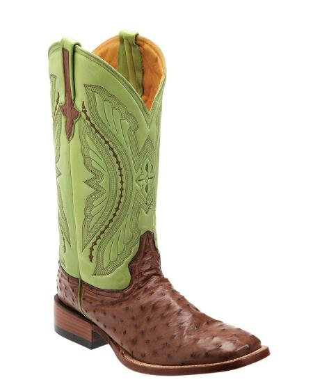 Ferrini Mens Full Quill Ostrich SToe Boot Kango/Lime9