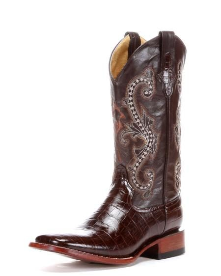 Ferrini Mens Print Belly Alligator ~ gator SToe Boot Chocolate 236