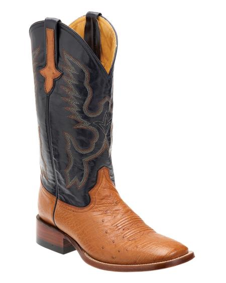 Ferrini Mens Smooth Ostrich SToe Boot Cognac/Navy 372