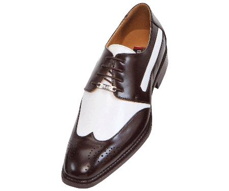 French Brown and White Mens Two Tone Dress Shoes Oxford: Wingtip