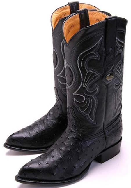 Full Quill Ostrich Black Los Altos Mens Cowboy Boots Western Classics Riding 320