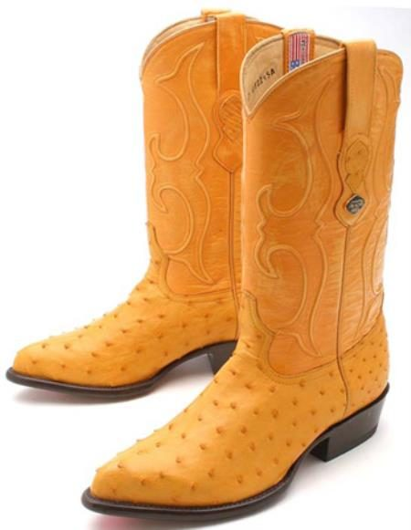 Full Quill Ostrich Buttercup Yellow Los Altos Mens Western Boots Cowboy Classics 320