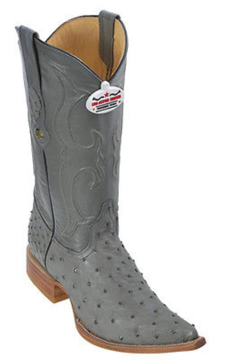 Full Quill Ostrich Leather Gray Los Altos Mens Western Boots Cowboy Fashion
