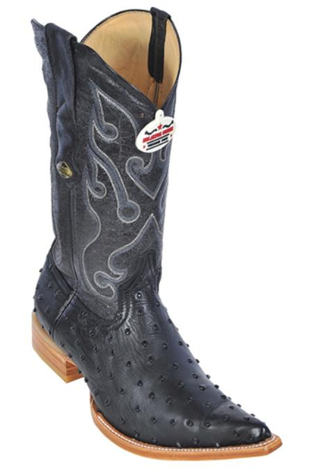 Full Quill Ostrich Print Los Altos Black Mens WESTERN Cowboy Boots 3x Toe