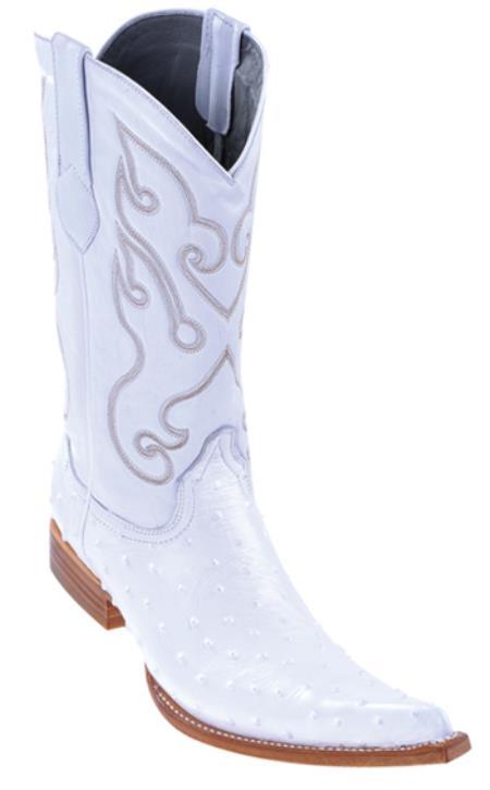 Full Quill Ostrich Print Los Altos White Mens WESTERN Cowboy Boots 6x Toe