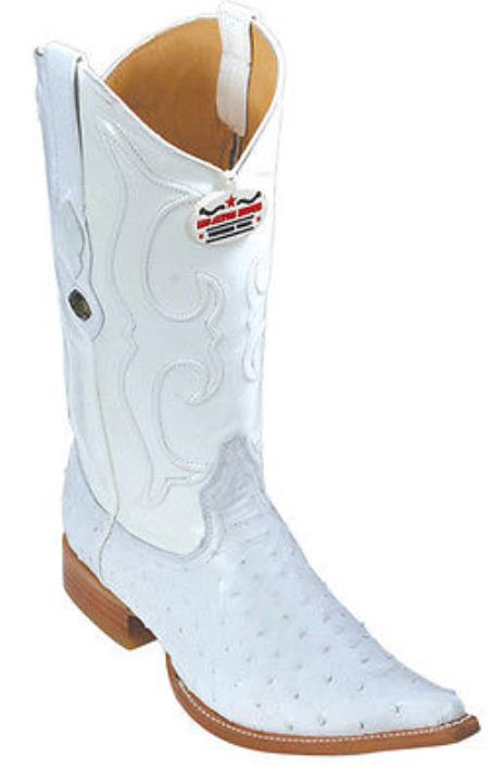 Full Quill Ostrich White Los Altos Mens Western Boots Cowboy Classics 3x Toe