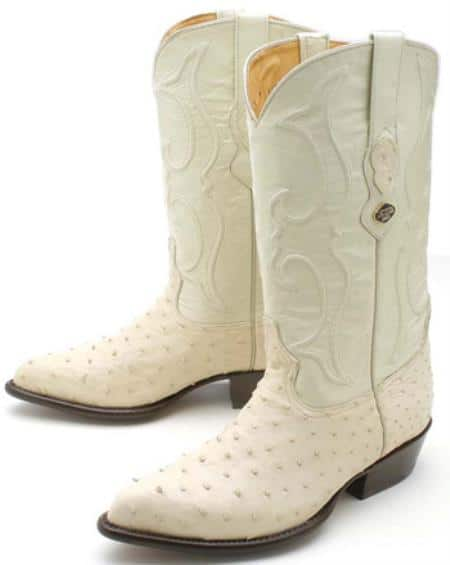 Full Quill Ostrich Winter White Los Altos Mens Cowboy Boots Western Rider 320