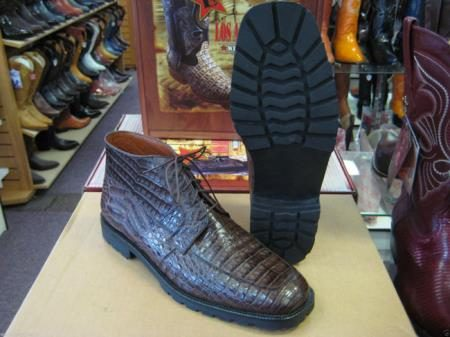 Genuine All Crocodile Caiman Brown Men Ankle Boot