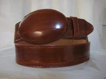 Genuine authentic faded cognac eel skin western cowboy belt