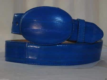 Genuine authentic faded royal blue eel skin western cowboy belt