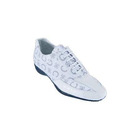 Genuine Caiman Casual LaceUp Shoes White