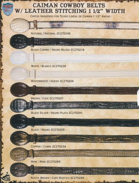 Genuine Caiman/Leather Cowboy Belts 1.5inch Width Diff. Colors/Sizes