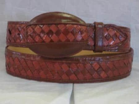 Genuine cognac weave lizard teju western cowboy belt