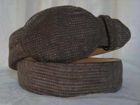 Genuine distressed brown lizard teju western cowboy belt