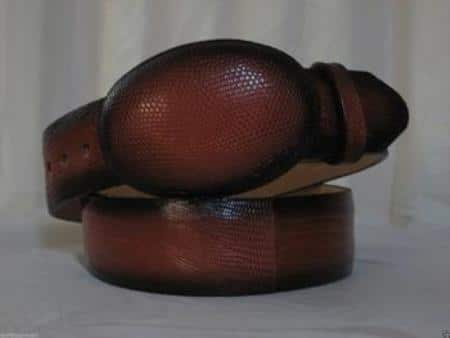 Genuine faded cognac lizard teju western cowboy belt