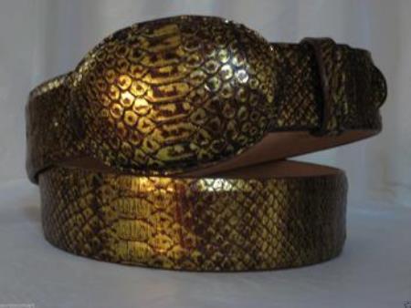 Genuine gold python snake western cowboy belt