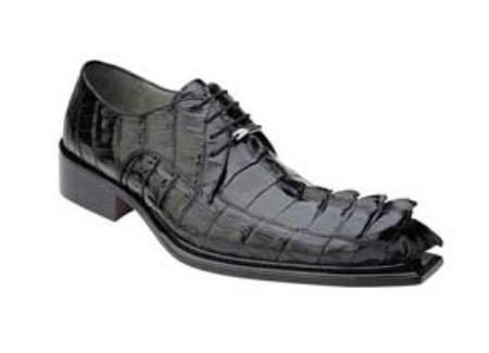 Genuine Hornback Alligator / Exotic Dress Shoes Leather Sole in Black
