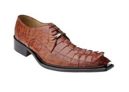 Genuine Hornback Alligator / Exotic Dress Shoes Leather Sole in Cognac