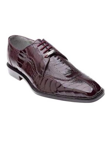 Genuine Ostrich / Eel and Stingray Exotic Dress Shoes in Burgundy