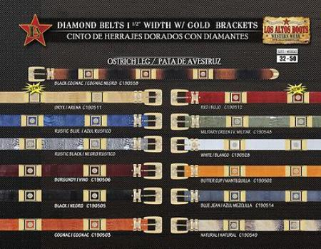 Genuine Ostrich Leg Belt 1.5inch Width w/Gold Brackets 123
