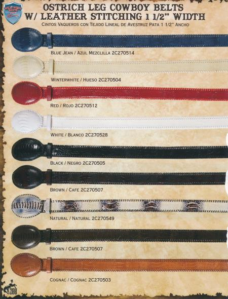 Genuine Ostrich Leg/Leather Cowboy Belts 1.5inch Diff.Colors/Sizes