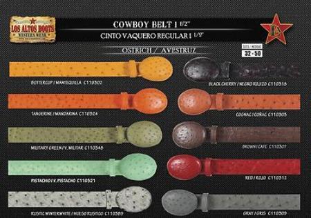 Genuine Ostrich Mens Cowboy Belt 1.5inch Width 113