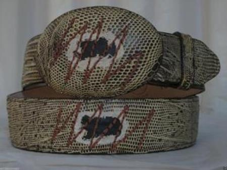 Genuine patched Rustic Brown Lizard Teju Western Cowboy Belt